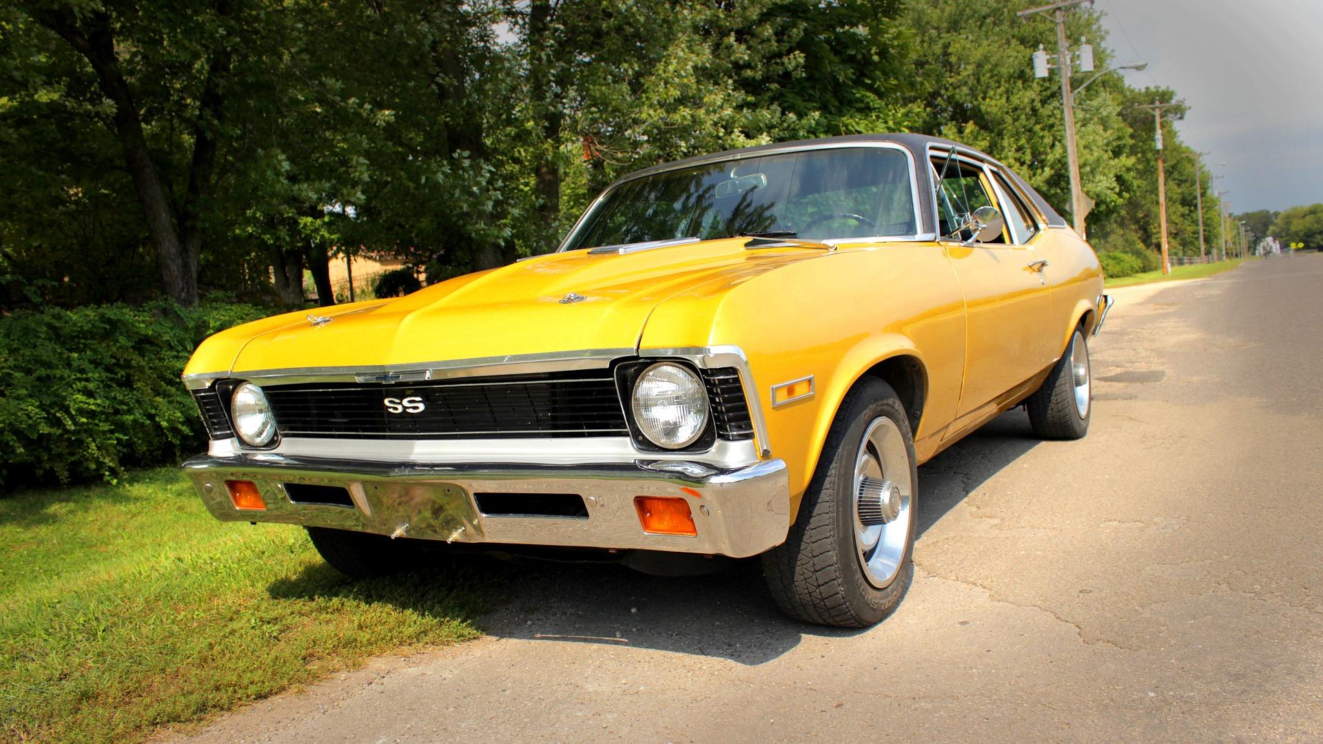 Yellow Car roadside